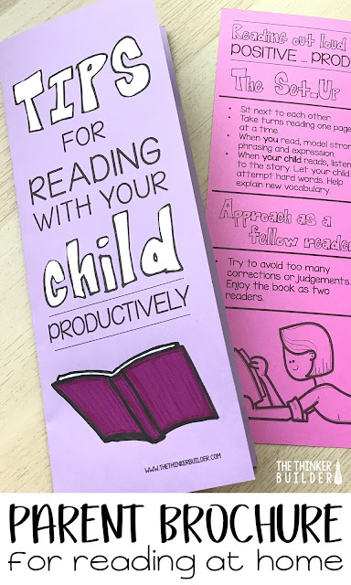 "Tons of tips for teachers to help the ""readling relationship"" between parent and child. Plus a handy parent brochure for reading with their child, perfect to pass out at a Meet-the-Teacher-Night or parent - teacher conferences. From The Thinker Builder"