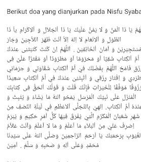 Doa nisfu sya'ban bahasa Arab
