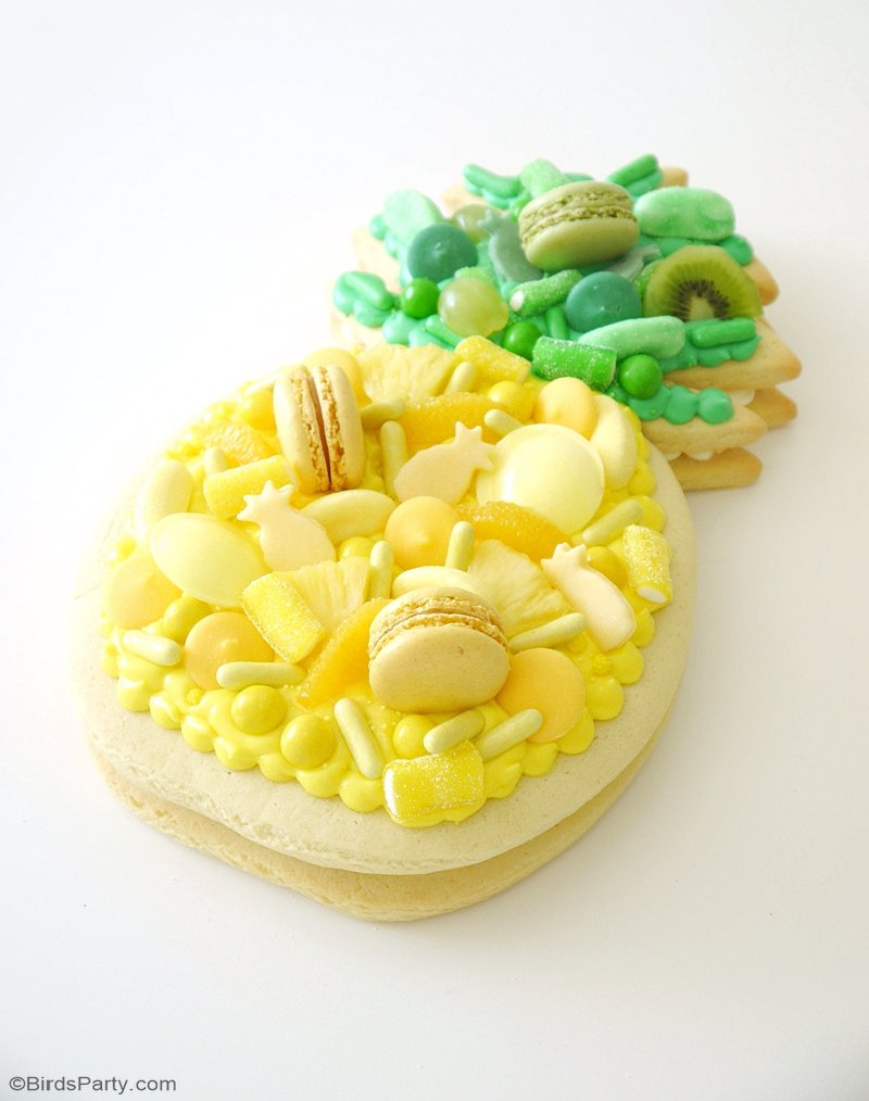Pineapple Cookie Cake - this trendy cream tart shaped like a pineapple is so easy to bake and decorate, perfect for any summer party or birthday! by BirdsParty.com @birdsparty #pineapple #pineapplecake #pineapplecookie #pineappleparty #cookiecake #creamtart #pineapplecookiecake #pineapplecreamtart #recipe #summerrecipe #summercake