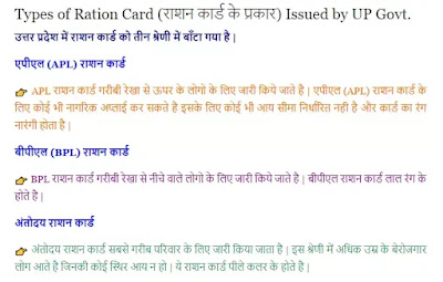 types of ration card