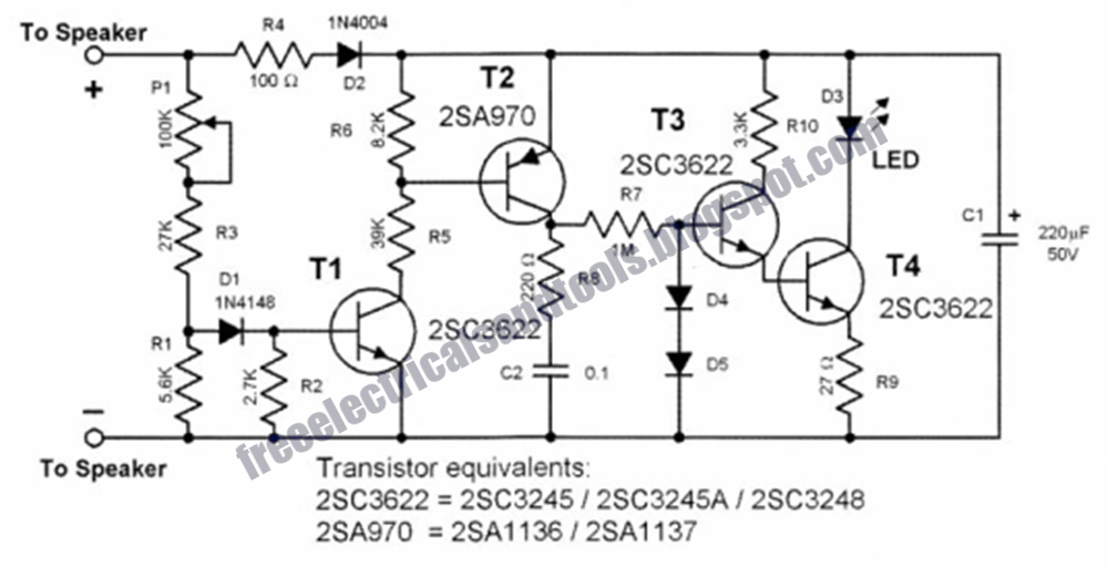 Free Schematic Diagram  Loudspeaker Peak Indicator Circuit