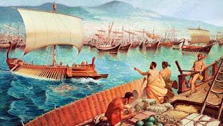 Mercaderes en el puerto de Delos