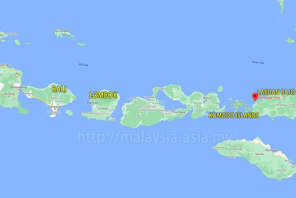 Map of Komodo Island Labuan Bajo