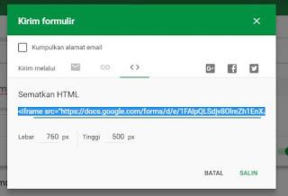 kirim formulir dengan cara embed code bisa di pasang di blog