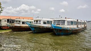 Ferry boats docked at Ernakulam boat jetty, Kochi