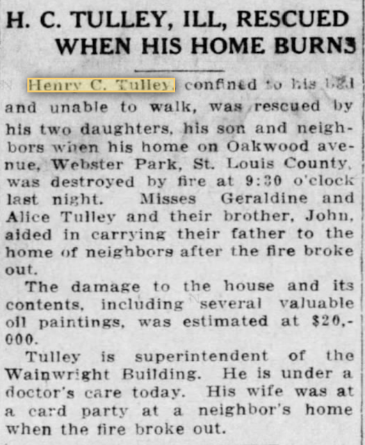 Henry C. Tulley's home at 207 Oakwood Avenue burns down, 1915