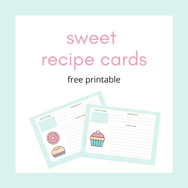 Sweet recipe cards - free printable