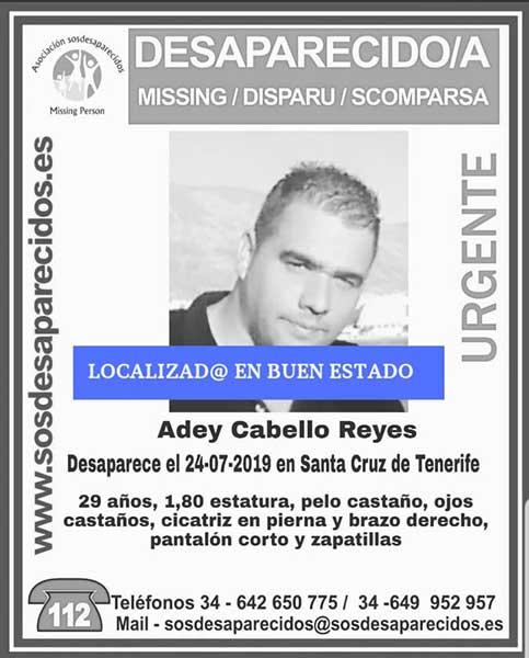 Localizado  buen estado desaparecido Santa Cruz de Tenerife, Adey Cabello Reyes