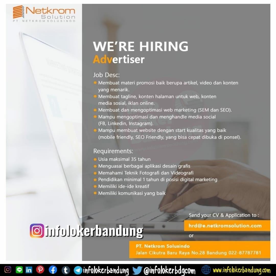 Lowongan Kerja Advertiser PT. Netkrom Solusindo Bandung Februari 2020