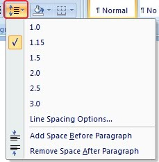 Line spacing microsoft word