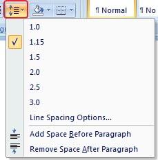 Line spacing microsoft word