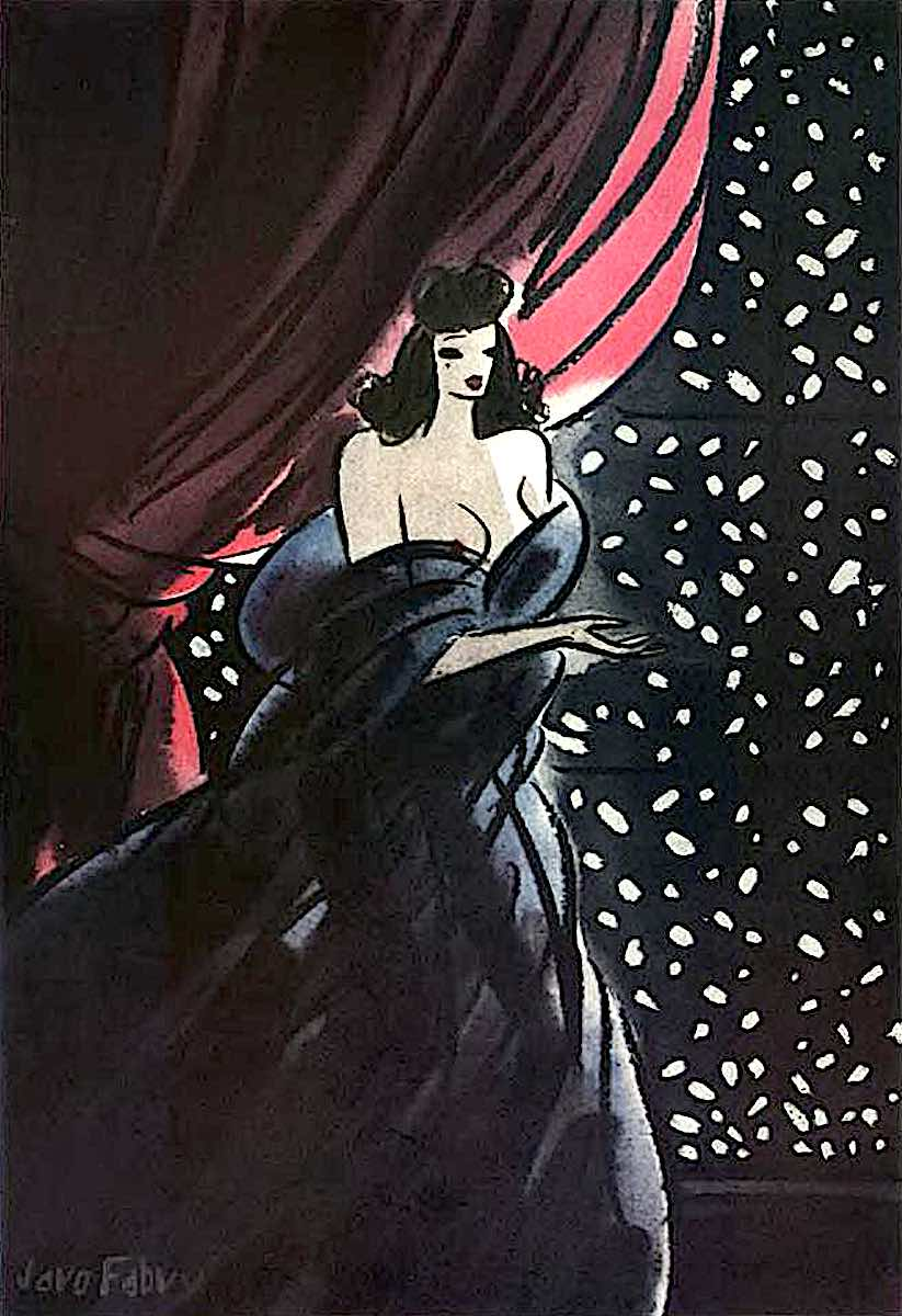a Jaro Fabry 1938 illustration of a beautiful woman in a nightgown looking at snowfall