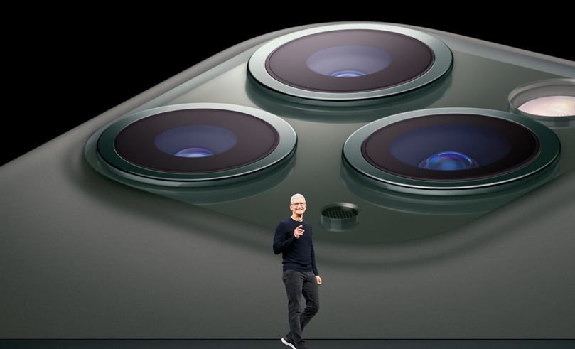 Tim Cook on stage at Apple's September 10, 2019 event for iPhone 11 launch.