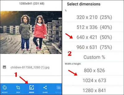1 click resize 2 select any dimension or width hieght