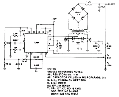 Simple 400V-60W push-pull DC-DC Converter Circuit Diagram