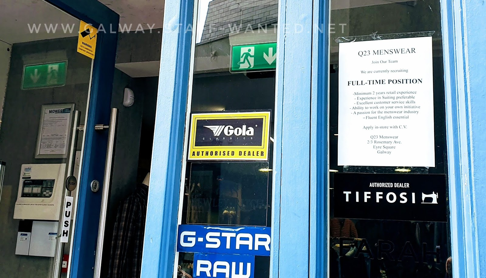 section of shopfront with the job advertisement, and sticks for G-Star RAW, Tiffosi, Gola Classics authorised dealer