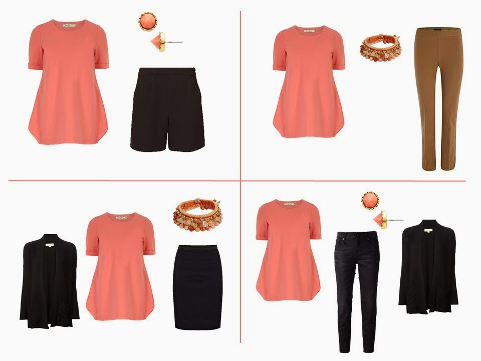 wear coral and black together, wear coral and tobacco together, wear coral and caramel together