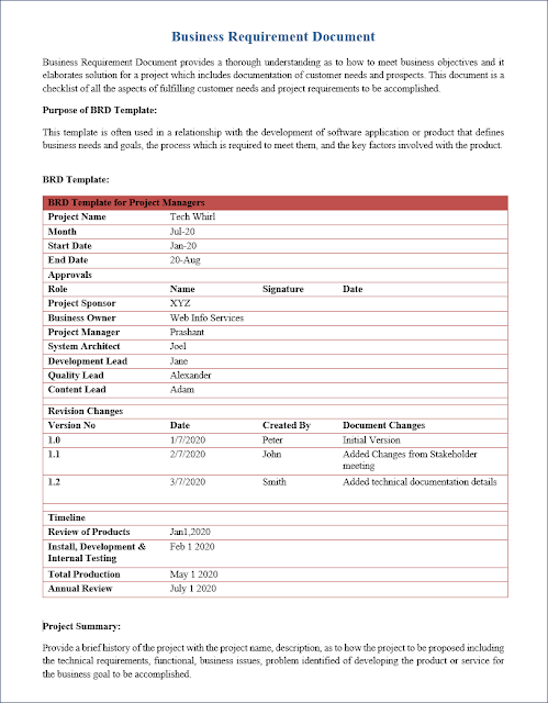 Business Requirements Document Template, BRD Template,Business Requirements Document