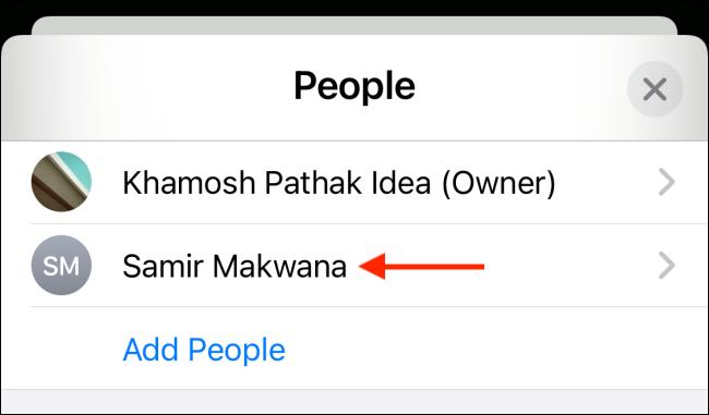 """حدد جهة اتصال من قائمة """"الأشخاص""""."""
