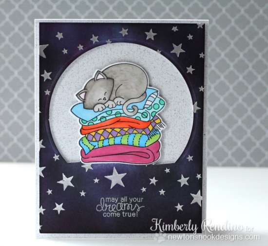 Newton's Naptime card by Kimberly Rendino for Newton's Nook Designs | double partial die cutting | embossing paste