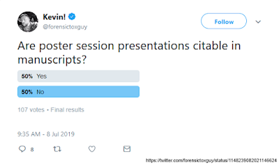 "Poll results to, ""Are poster session presentations citable in manuscripts?"" 50% Yes, 50% No, 107 votes"