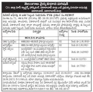 TSVVP Vikarabad district Area Hospital Staff Nurse Notification 2017