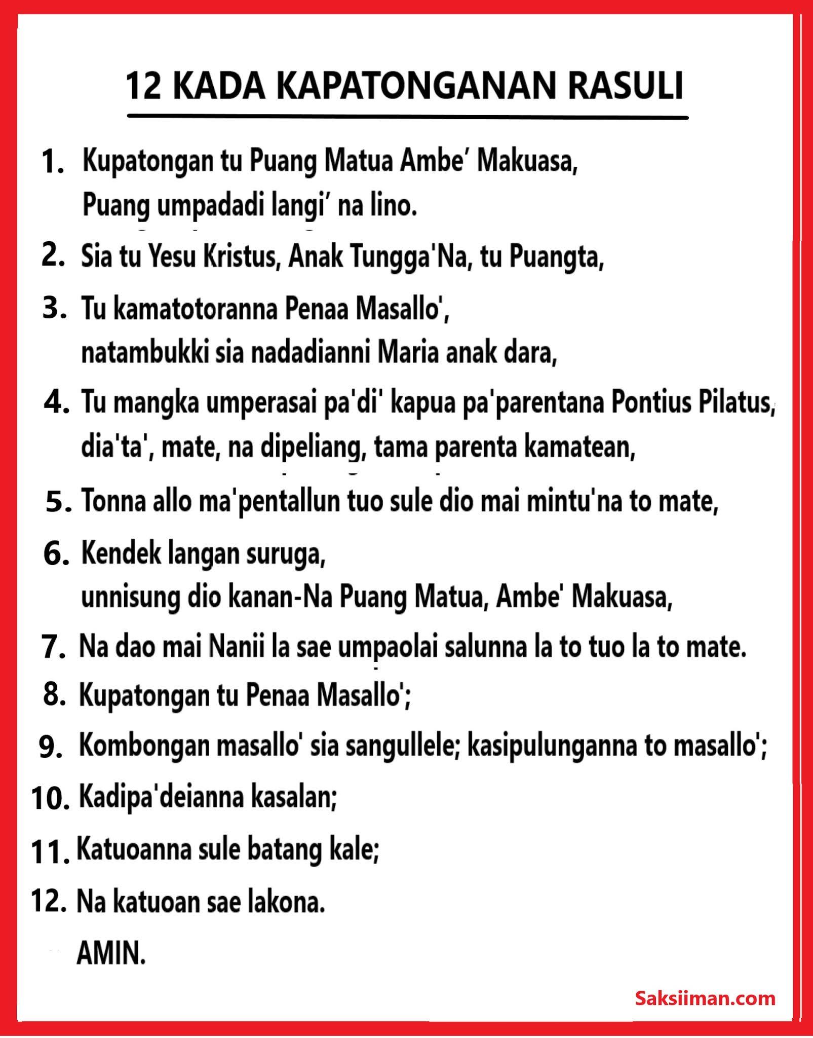 Pengakuan Iman Rasuli Bahasa Toraja