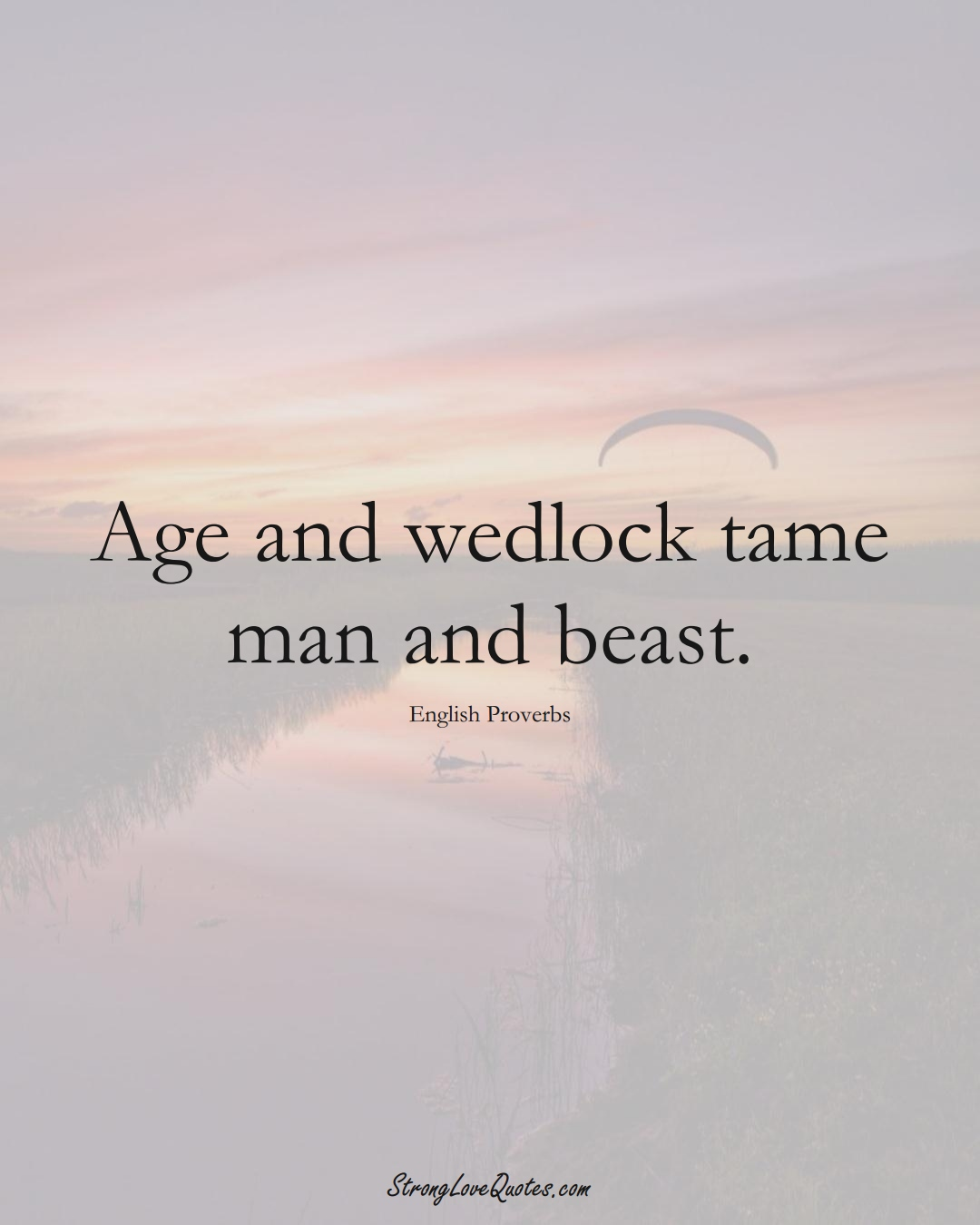 Age and wedlock tame man and beast. (English Sayings);  #EuropeanSayings