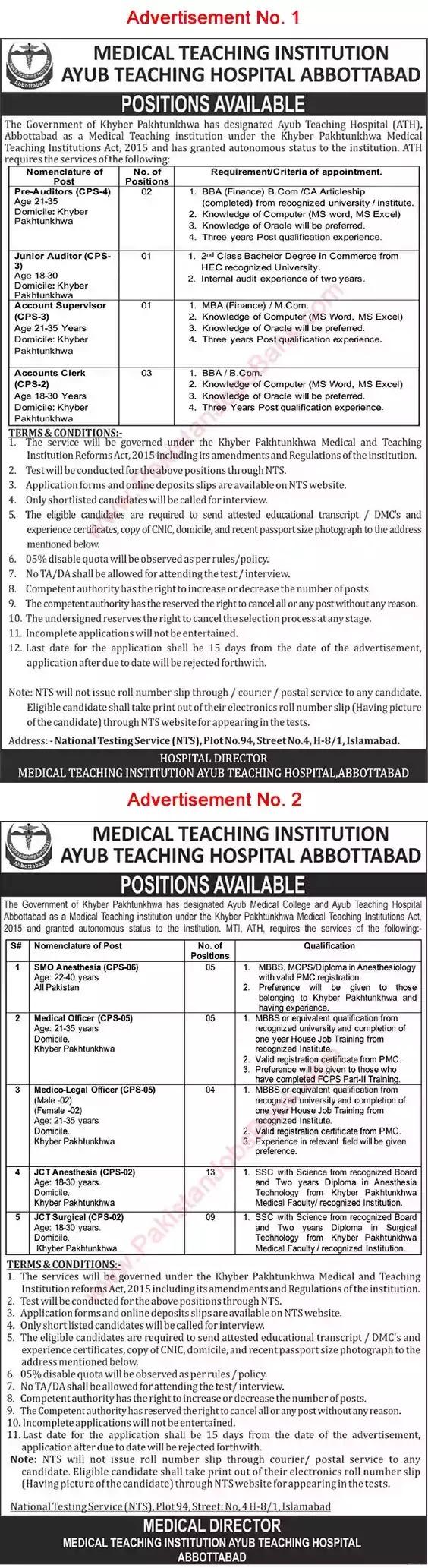 New Jobs in Pakistan Ayub Teaching Hospital Abbottabad Jobs 2021