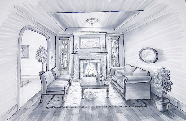 Karen 39 s creations may 2013 - Two point perspective living room ...