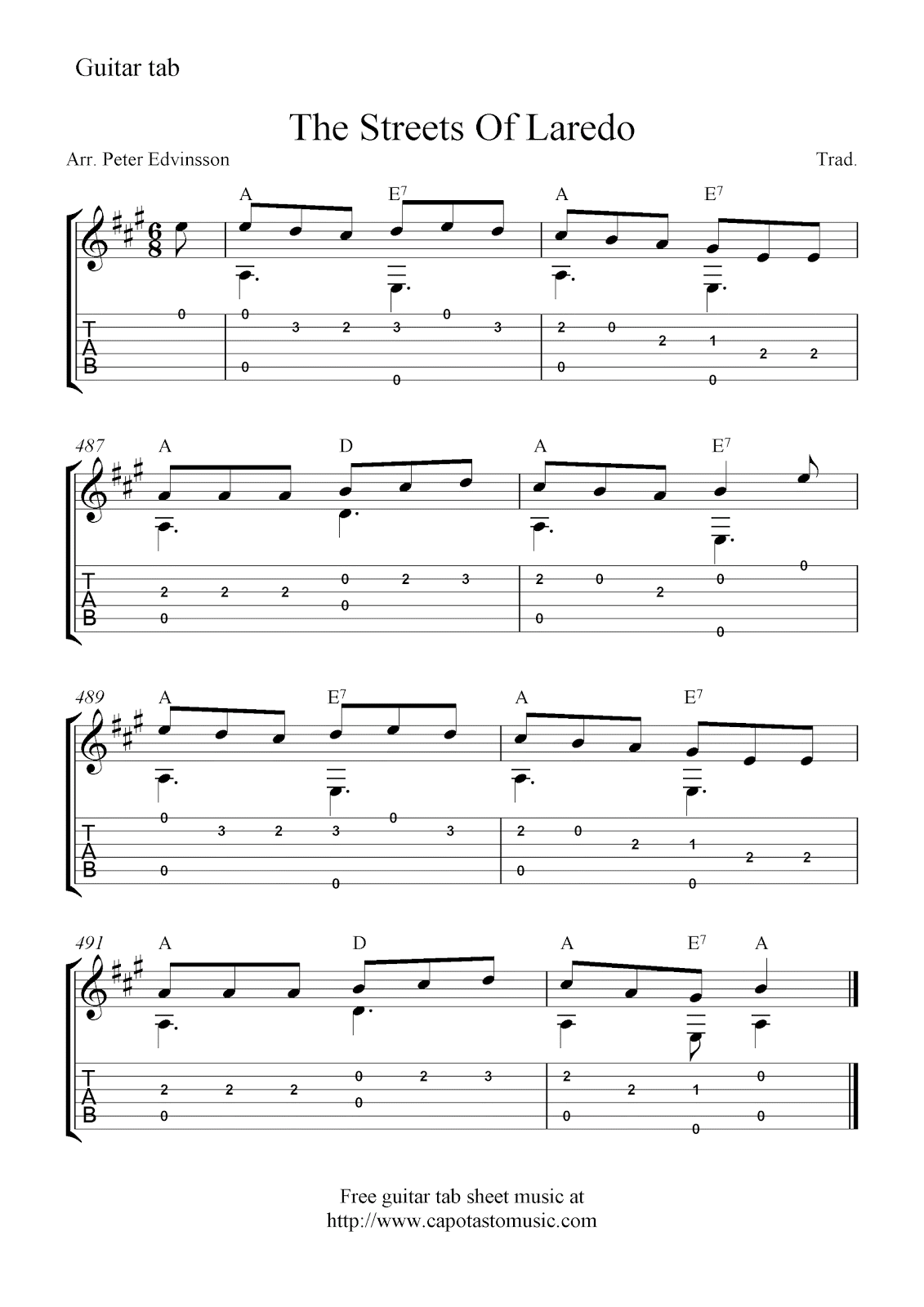 Free Easy Guitar Tabs Sheet Music Score The Streets Of Laredo