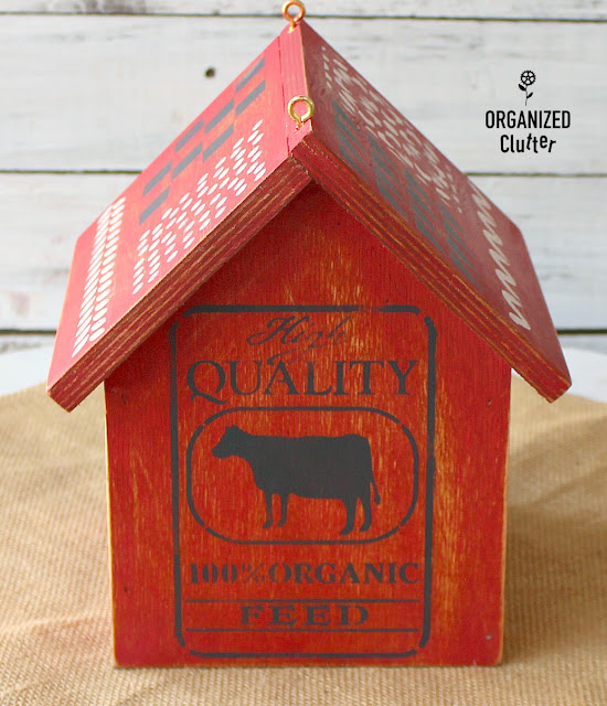 Farm Style Birdhouse With Red Milk Paint & Stencil Smorgasbord #stencil #farmhousestyle #birdhouse #milkpaint #fortyorkred
