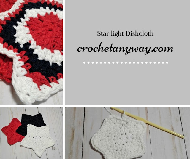 red, white and blue star dishcloth, crochet