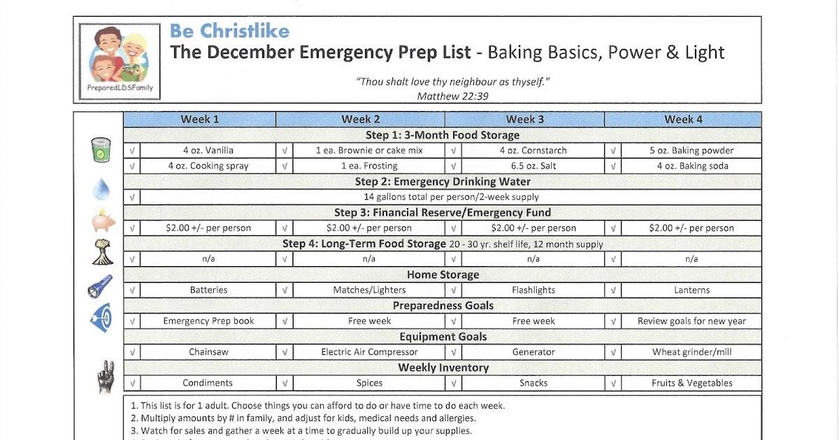 Prepared Lds Family December Emergency Preparedness Goals