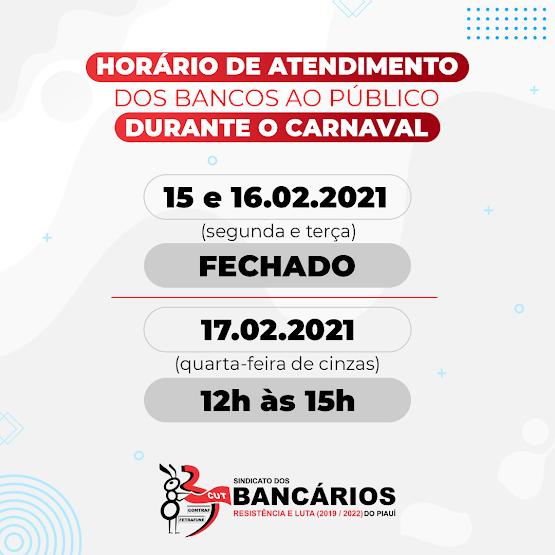 Utilidade Pública: Horário de funcionamento dos Bancos durante o Carnaval