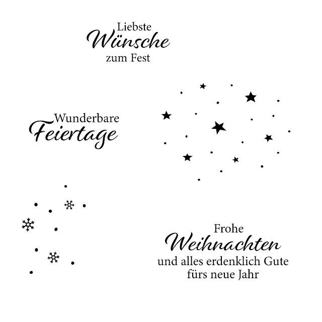 Stempelset mit Weihnachtstexten und Muster