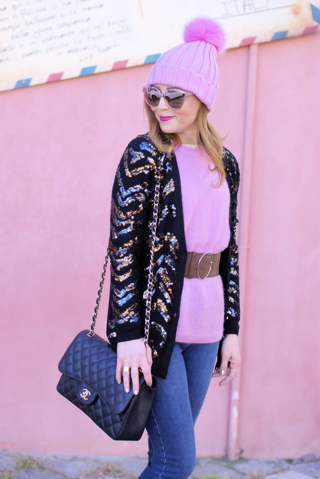 How to wear sequins in the daytime with Diorama2 sunglasses and Chanel 2.55 bag on Fashion and Cookies fashion blog, fashion blogger style