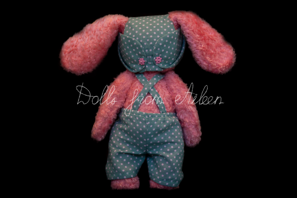 ooak artist teddy bunny rabbit view from behind