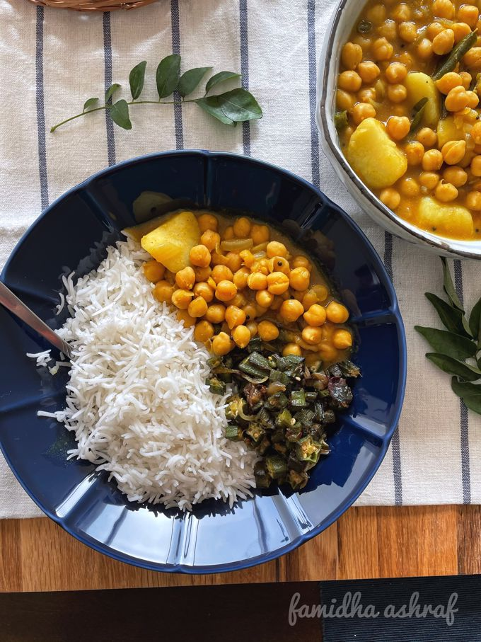 Chickpea Potato Curry served with rice and okra