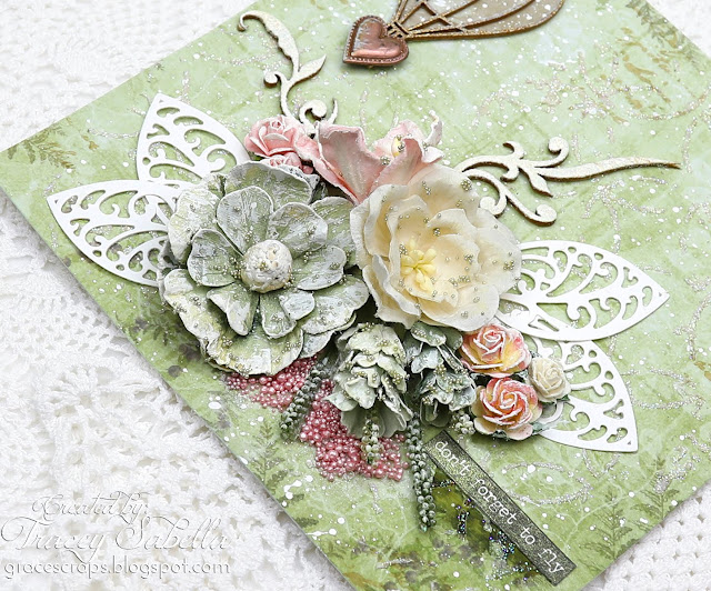 """Don't Forget to Fly"" Shabby Mixed Media Card by Tracey Sabella for Scrap & Craft: #studio75 #snipart #Finnabair #Primamarketing #49andmarket #artanthology #wildorchidcrafts  #rangerink #mixedmedia #mixedmediacard #shabbychic #shabbychiccard #papercrafting #flowercard #chipboard #helmar #timholtz"