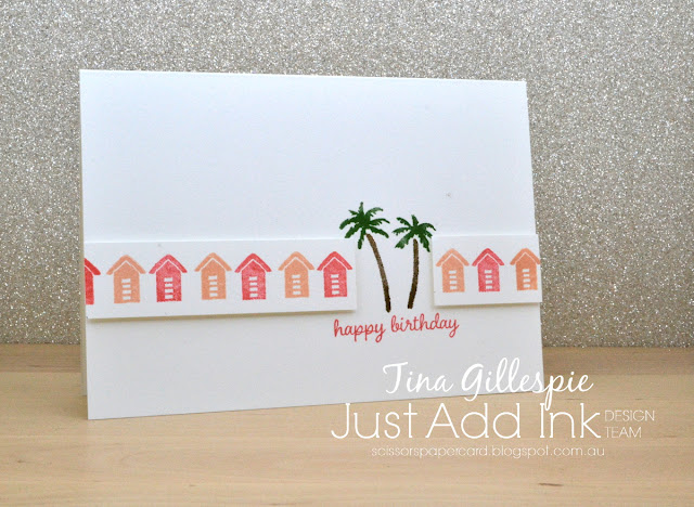 scissorspapercard, Stampin' Up!, Just Add Ink, Waterfront, Timeless Tulips, Itty Bitty Birthdays, Stamparatus