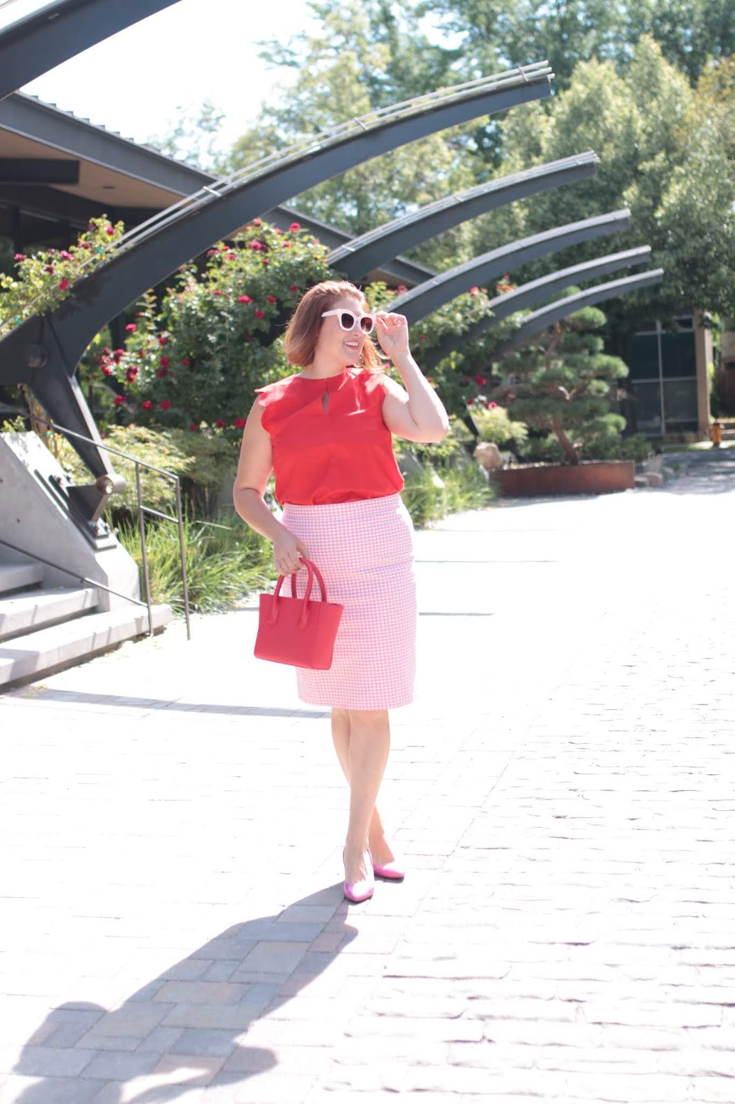 & other stories red scalloped top, Dagne dover poppy tote, J. Crew Gingham pencil skirt
