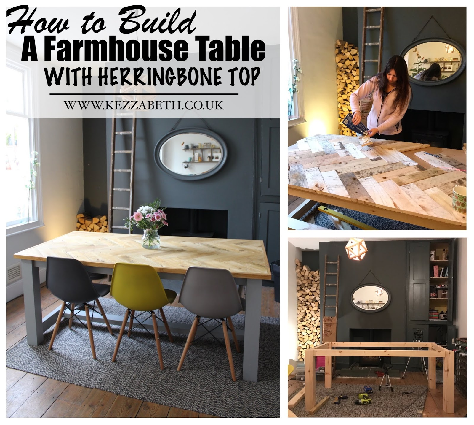 How to Build a Farmhouse Style Table with Herringbone Top - DIY Guide