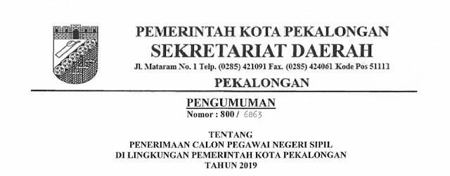 Formasi CPNS Kota Pekalongan 2019