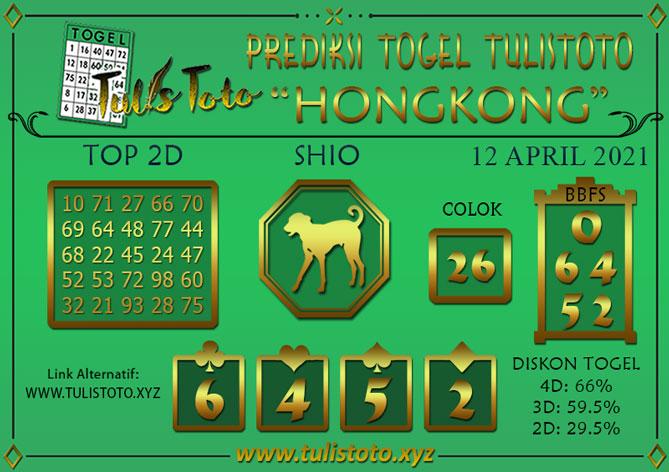 Prediksi Togel HONGKONG TULISTOTO 12 APRIL 2021