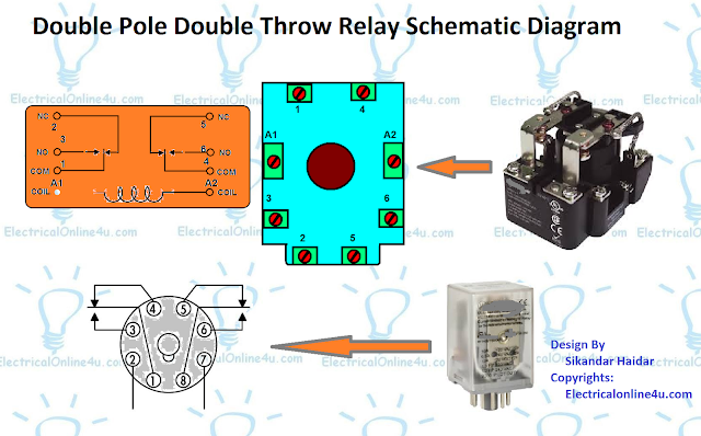 double pole double throw relay schematic