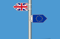 Image showing Union Jack and EU flag pointing in different directions