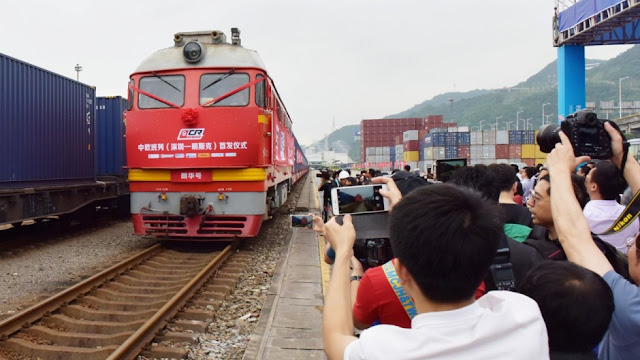 Image Attribute: The first freight train from Shenzhen to Minsk sets out from the port of Yantian on Monday. Photo: Reuters