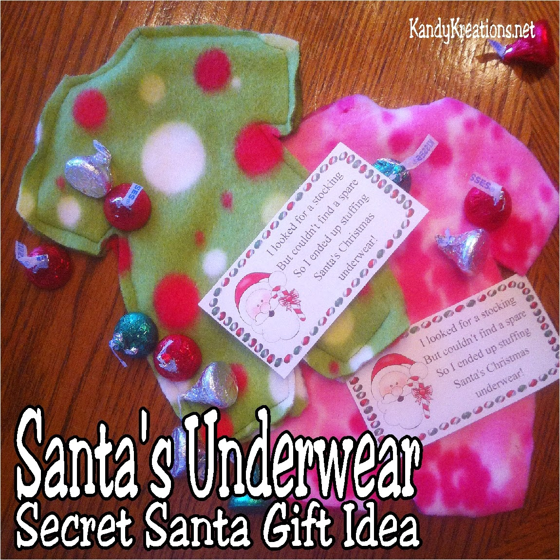 Give your secret Santa a sweet gift this Christmas using this Santa's underwear gift idea.  Use the directions to make your own underwear and the printable to add a fun tag to bring your gift together.  Your Secret Santa will be thrilled with getting underwear for sure!