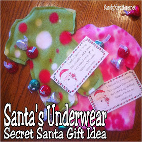 Give your secret Santa a sweet gift this Christmas using this Santa's underwear gift idea.  Use the directions to make your own underwear and the printable to add a fun tag to bring your gift together.  Your Secret Santa will be thrilled with getting underwear for sure! #secretsanta #christmasgift #santa #diypartymomblog